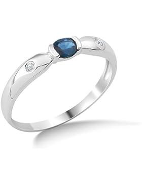 Miore Damen-Ring Saphir und 2 Brillanten 9 Karat 375 Weißgold MG9128R