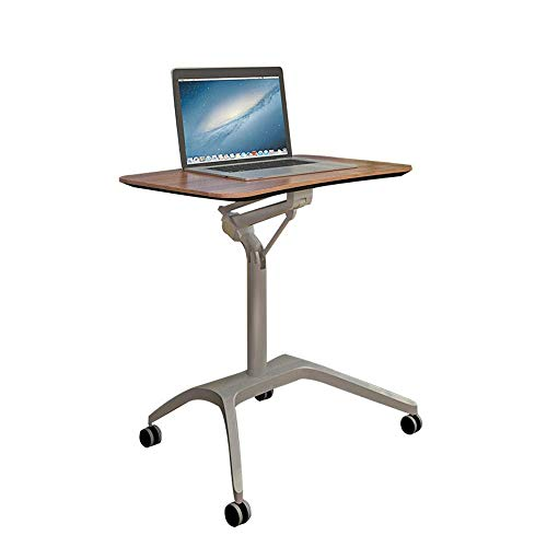 YueQiSong Folding Table/Desk Laptop Table Height Adjustable it Can Move Lazy Table Sofa Bedside Table Office Lecture Table, Walnut Color -