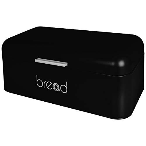 TW24 Brotbox - Brotkiste - Brotkasten - Metall 42x22x16cm - mit Farbwahl (schwarz)
