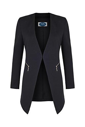 4tuality AO Long Blazer kragenlos mit Zipper schwarz Gr. XXXXL