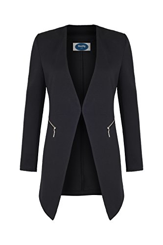 AO Long Blazer kragenlos mit Zipper schwarz Gr. L