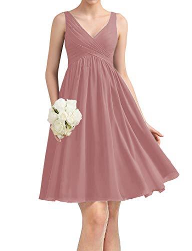 yinyyinhs Kurze Chiffon Brautjungfernkleider knielangen V-Ausschnitt Abend Abendkleider für Damen Größe 36 Staubige Rose -