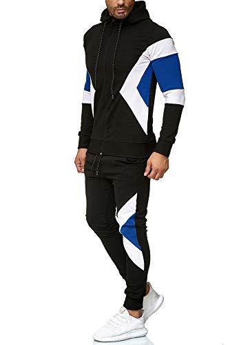 OneRedox | Herren Trainingsanzug | Jogginganzug | Sportanzug | Jogging Anzug | Hoodie-Sporthose | Jogging-Anzug | Trainings-Anzug | Jogging-Hose | Modell 1267 Schwarz XS