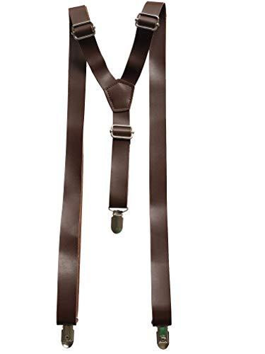 Bretelle vintage in pelle marrone rustico marrone scuro marrone scuro per uomo bretelle (scuro)