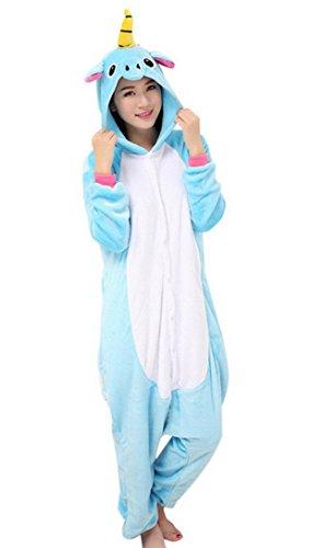 Onesie Tier Kostüm Flannell Sleepwear Cartoon Einhorn Cosplay für Weihnachten Ostern Hallowee Karneval Winter Homewear mit Kapuze-Rosa-XL (Damen Tier Kostüme)