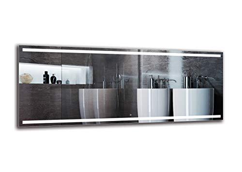 Espejo LED Deluxe - Dimensiones del Espejo 200x80 cm - Interruptor tactil - Espejo de baño con iluminación...