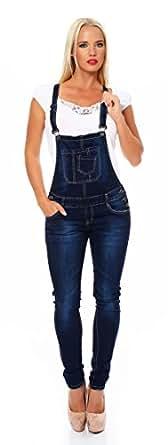 10679 Fashion4Young Damen Latzhose Hose pants mit Träger Röhren Jeans Overall Jeanshose Trägerhose (S=36, Dunkelblau)