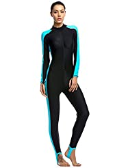 OUO Women Fitness Full Length Surfing Suit One Piece Long Sleeve Swimsuit