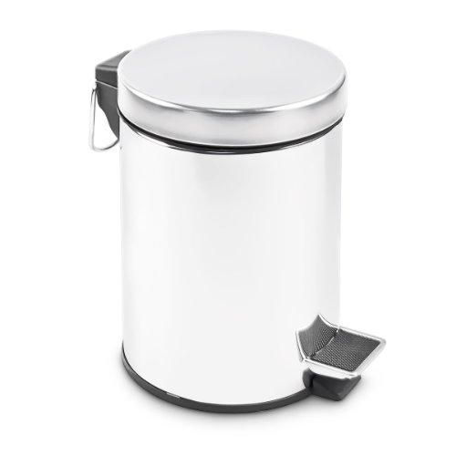 Relaxdays Mülleimer klein, Treteimer 3 Liter, Abfalleimer Edelstahl mit Inneneimer, HxBxT: 25,5 x 17 x 19,5 cm, silber
