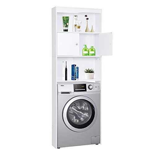 Happy Home Waschmaschinenschrank Badregal Hochschrank Waschmaschine Badschrank mit Tür und 3 Ablagens für Toilette, Badezimmer, Balkon (Weiß) - 62,5 x 19,5 x 178 cm
