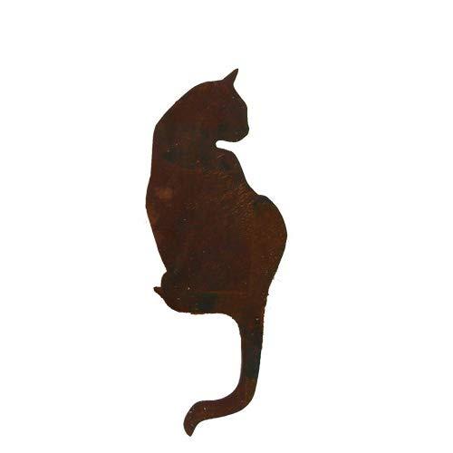 Figurine Chat assis métal 50 cm patine rouille Décoration de jardin bords Tabouret