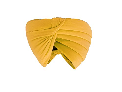 Gurdip Store Men's Unstitched Casual 7 mtr Cotton Light yellow Turban , 1 Piece