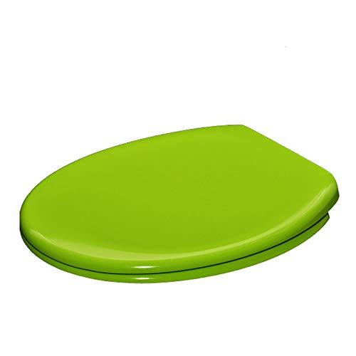 MYQ Toilettensitz, weiß, D-Form mit Absenkautomatik, mit Standard- und Top-Befestigung/Blindlöch-Beschlägen und Druckknopf-Schnellverschluss-Scharnieren, Unterstützung erhöht grün