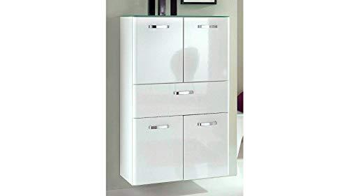 Held Möbel 227.3044 Phoenix Midischrank 4-türig, 1 Auszug, 2 Einlegeböden, 70 x 114 x 35 cm, Hochglanz weiß