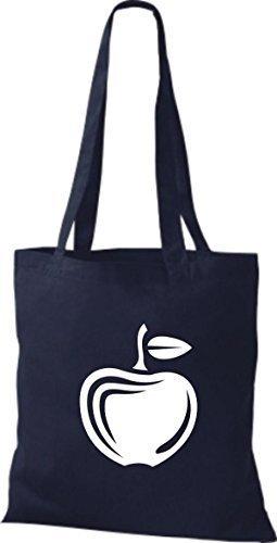 ShirtInStyle Stoffbeutel Baumwolltasche Dein Lieblings Obst und Gemüse Apfel Farbe Weinrot navy