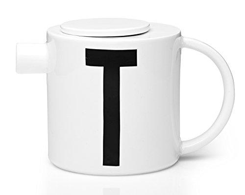 Design Letters Classic Collection Théière, Porcelaine, schwarz/weiß, Höhe: 11,70 cm Durchmesser: 11,70 cm