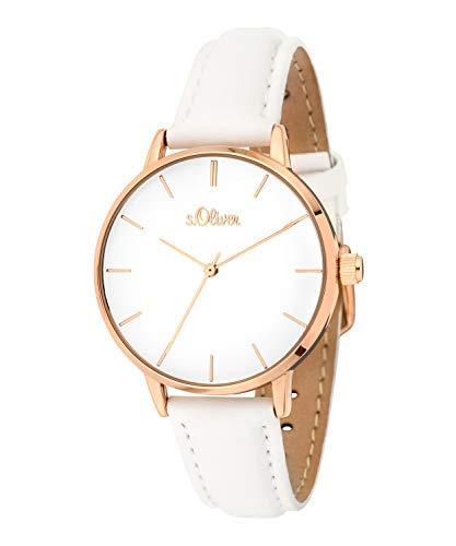 s.Oliver Damen-Armbanduhr Analog Quarz Leder (Weiß/Gold)