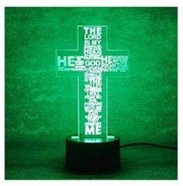 3D Die Jesus - Kreuz Optische Illusions-Lampen, Tolle 7 Farbwechsel Acryl berühren Tabelle Schreibtisch-Nachtlicht mit USB-Kabel für Kinder Schlafzimmer Geburtstagsgeschenke Geschenk -