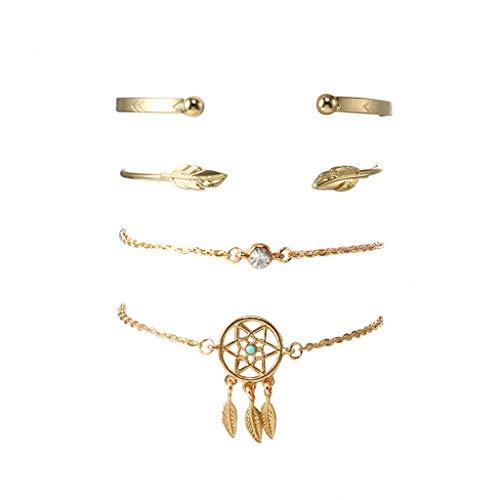 LINSINCH Armband Fashion Pfeil Blatt Elegante Kombination 4-teiliges Set Schöne Accessoires (Dusche Kits Billig)