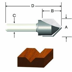 Vermont American 23119 7/16-Inch by 60-Degree Carbide Tipped V-Groove Router Bit, 2-Flute 1/4-Inch Shank by Vermont American -