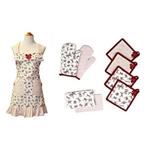 Pacific coast textiles set con 9 pezzi, grembiule, presine e guanti da forno standard