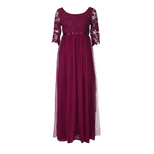 TEBAISE Sommer Damen Elegant Spitzen Ballkleid 2/3 Arm Vintage Chiffon Kleid Party Abendkleid Abschlusskleider Brautjungferkleid Karneval Businesskleid Cocktailkleider