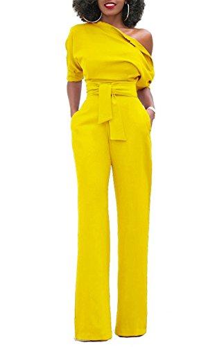 KISSMODA Frauen Länge Einfarbig Elegant Stilvolle Schulter Stil Voller Overall Gelb Medium