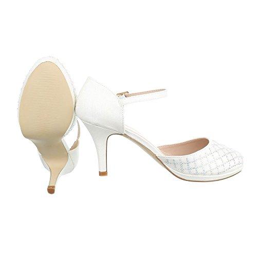 High Heel Damenschuhe Plateau Kleiner Trichter High Heels Schnalle Ital-Design Pumps Weiß