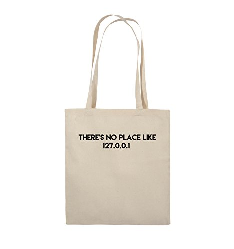 Comedy Bags - THERE'S NO PLACE LIKE 127.0.0.1 - Jutebeutel - lange Henkel - 38x42cm - Farbe: Schwarz / Silber Natural / Schwarz