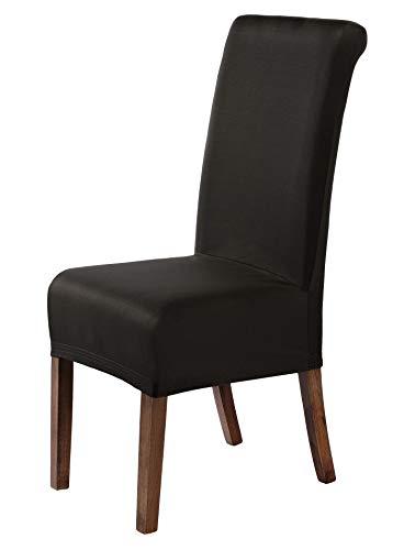 SCHEFFLER-Home Marie 2er Set Stuhlhussen Stretch, Stuhlabdeckung elastisch, Husse Spannbezug mit Fleckschutz, braun - Deckt Stuhl Leder