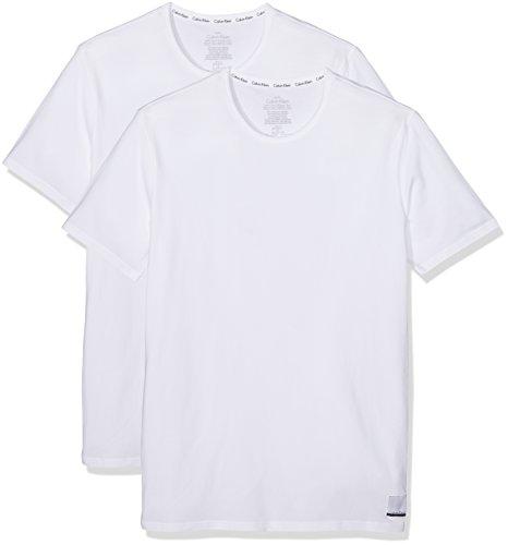 Calvin Klein Herren T-Shirt 2p S/s Crew Neck T Sli, 2er Pack, Weiß (White/White), Large (Klein-crew-t-shirt Calvin)