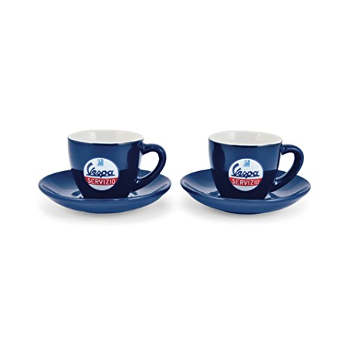 """Espressotassen Vespa mit Motiv""""Servizio"""" / 2er-Set, blau"""