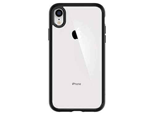 Spigen Coque iPhone XR [Ultra Hybrid] Bumper Noir Souple, Dos Transparent Rigide, Transparence,...