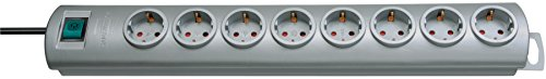 Oferta de Brennenstuhl Primera-Line regleta enchufes con 8 tomas corriente y interruptor (cable de 2 m, interruptor iluminado, montable) plateado