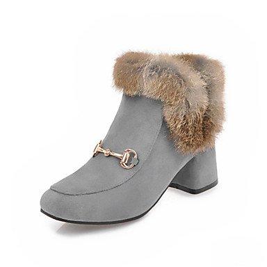 RTRY Scarpe donna Fleece inverno novità moda Stivali Stivali Chunky tallone punta quadrata Mid-Calf scarponi per nozze di mandorle Casual Nero Grigio US9 / EU40 / UK7 / CN41