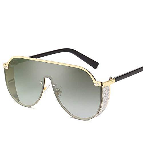 Fashion Classic Männer Steigungs-Sonnenbrille Retro- Frauen Siamese Unregelmäßige Metall-große Feld-Sun-Glas-Brillen, 5