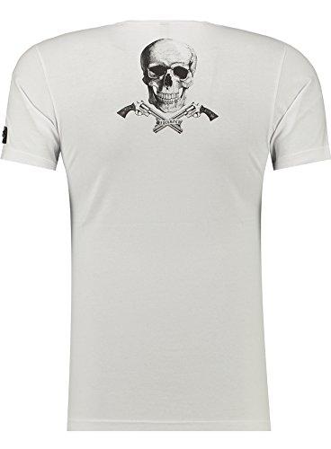Black Rock Blackrock Herren T-Shirt Slim-Fit Totenkopf Skull Bones Adler Elasthan 71314 - WHITE