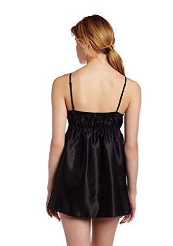 Anaisy Femme Pyjamas Mode Peignoir sans Manches V-Cou Uni Manche Épaules Nues Jeune Debardeur Plier Dos Nu Camisole Women (Color : Noir, Size : 2XL)