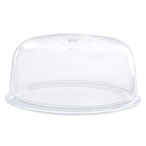 BORMIOLI Plateau à gâteau en verre avec couvercle en plastique 2pièces-également idéal plateau à fromage-Diamètre de la plaque à gâteau 28,5cm   Hauteur la hotte 12,5cm