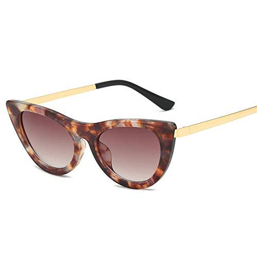 ZHONGYUAN Cat Eye Sonnenbrillen Triangle Trend Herren und Damen Cat Eye Sonnenbrillen, Floral Frame verlaufsgrau