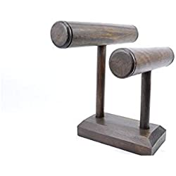 - Watch Bracelet Jewellery Display Stand For 2 Rods Solid Wood Stained chocolate-coloured