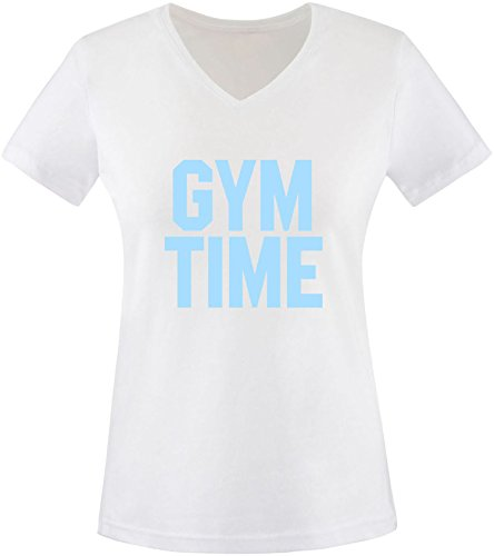 EZYshirt® Gym Time Damen V-Neck T-Shirt Weiss/Hellblau
