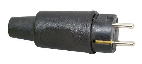 Kopp Schutzkontaktstecker mit Knickschutztülle, IP44, spritzwassergeschützt, 250V (16A), Schutzkontakt Stecker aus Vollgummi für erschwerte Bedingungen, bruchfest, großes Modell, schwarz, 179516009 Bedingungen 16