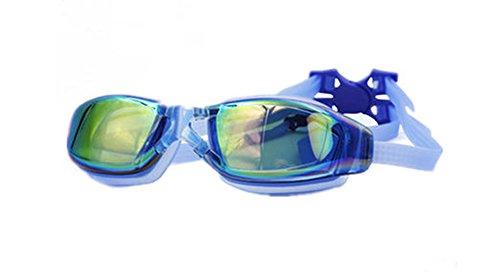 ZHAGOO Schwimmbrille, G1 Polarisierte Schwimmbrille Mit Spiegel/Rauch Objektiv UV-Schutz Wasserdicht Anti-Fog Verstellbares Band Comfort Fit Für Unisex Erwachsene Männer Und Frauen, Jugendliche,Blue (Blau Objektiv Rauch)
