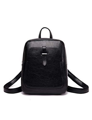 FRYP Diebstahlsichere Rucksack-Studententasche aus Leder für Damen/wasserdichter kleiner Reise-Fitness-Rucksack-black (Cover Rosa Wheel)