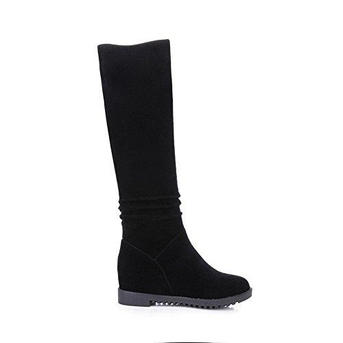 AgooLar Damen Mitte-Spitze Ziehen auf Mattglasbirne Rund Zehe Stiefel mit Beschlagene Strass, Schwarz, 35