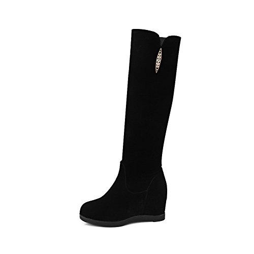 AllhqFashion Damen Eingelegt Mattglasbirne Hoher Absatz Stiefel mit Beschlagene Strass Schwarz