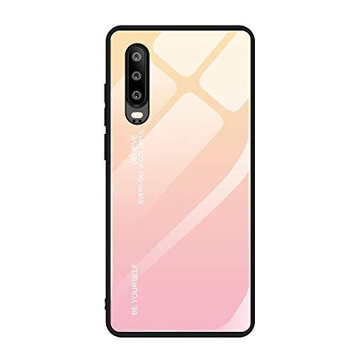 Kompatibel mit Huawei P30 Pro,P30 lite Hülle,9H Gehärtetes Glas +Silikon Bumper Frame dünn Spiegel Handyhülle Farbverlauf Back Cover Clear Mirror Schal für Huawei P30 (P30, 1) Frame Handy
