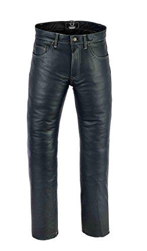 SHAMZEE Lederhose Leder Jeans Hose aus Nappa Leder echtleder in Schwarz farbe (32 Waist, Schwarz)