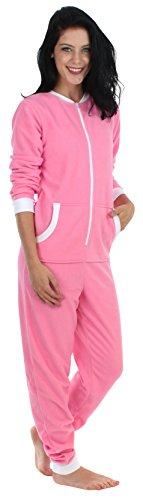 Sleepyheads Onesie, einteiliger Schlafanzug für Damen aus Fleece ohne Fuß, bunter Einteiler, Overall, Rosa mit Weiß (SH1018-4026W-EU-2X)